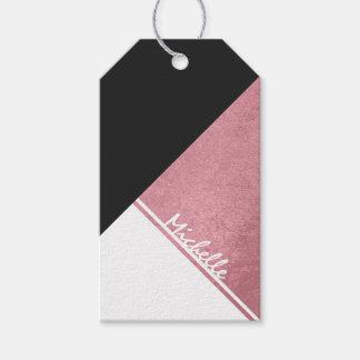 Étiquettes-cadeau Triangle moderne de noir d'or de rose blanc