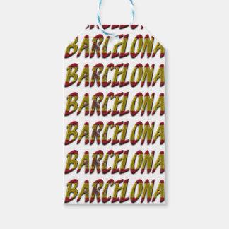 Étiquettes-cadeau Typographie espagnole de drapeau de Barcelone