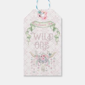 Étiquettes-cadeau Un tribal vert rose sauvage de premier