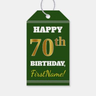Étiquettes-cadeau Vert, anniversaire d'or de Faux soixante-dixième +