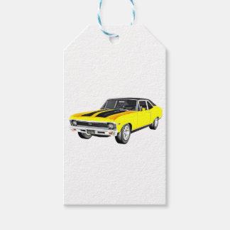 Étiquettes-cadeau Voiture jaune du muscle 1968
