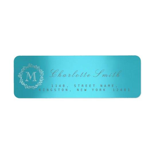 Étiquettes de adresse argentés de retour de bleu