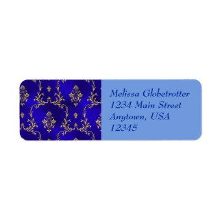 Étiquettes de adresse--Bleu et or