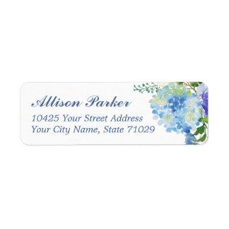 Étiquettes de adresse bleus d'hortensia