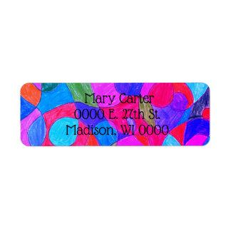 Étiquettes de adresse colorés d'art de bulle