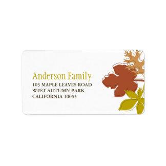 Étiquettes de adresse colorés de feuille d'automne