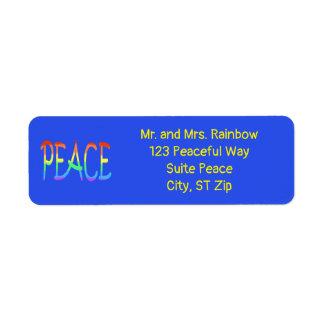 Étiquettes de adresse colorés de mot de paix