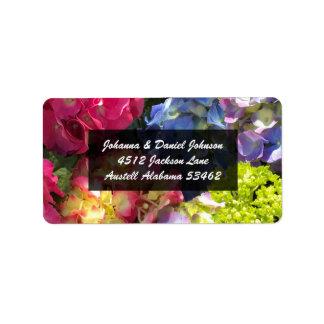 Étiquettes de adresse colorés d'hortensia