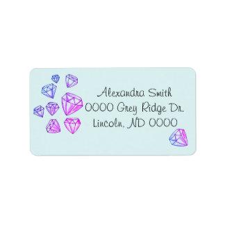 Étiquettes de adresse de diamant d'arc-en-ciel