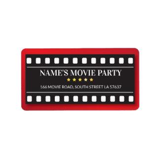 Étiquettes de adresse de film de billet de film de