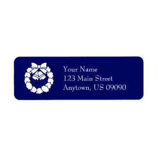 Étiquettes de adresse de guirlande de Noël (bleu