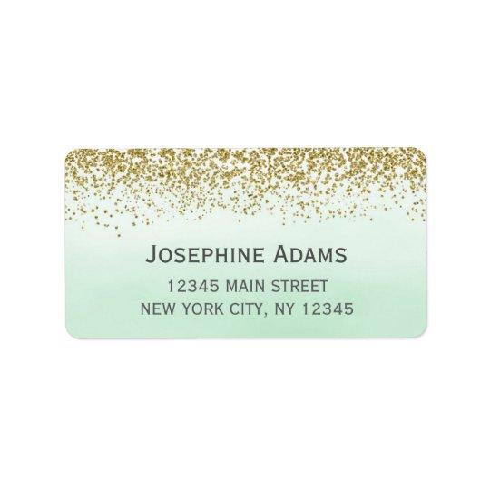 Étiquettes de adresse de menthe et d'or