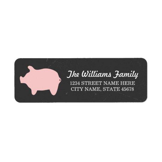 Étiquettes de adresse de Piggie de tableau/rose