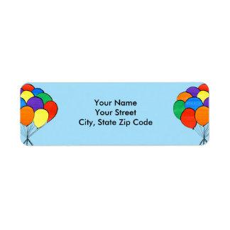 Étiquettes de adresse de retour de ballons colorés