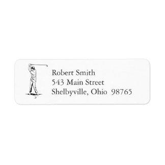 Étiquettes de adresse de retour de golfeur étiquette d'adresse retour