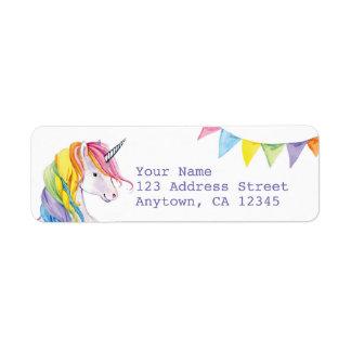 Étiquettes de adresse de retour de licorne