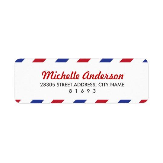 Étiquettes de adresse de retour de par avion