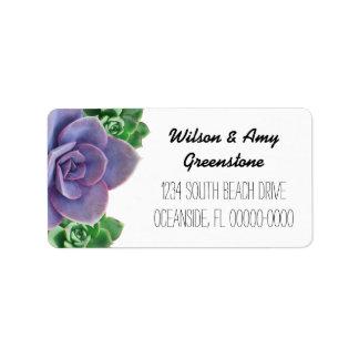 Étiquettes de adresse de retour de Succulents Étiquette D'adresse