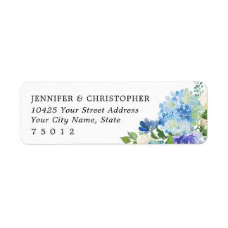 Étiquettes de adresse de retour d'hortensias bleus
