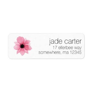 Étiquettes de adresse de retour - fleur rose