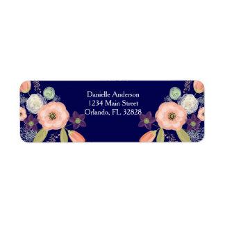Étiquettes de adresse de retour floraux