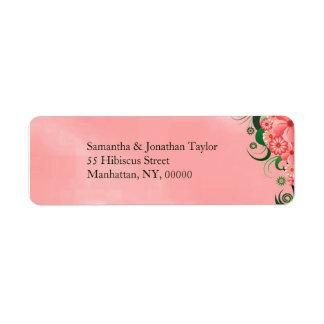 Étiquettes de adresse de retour floraux de ketmie étiquettes d'adresse retour