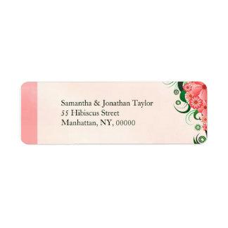 Étiquettes de adresse de retour roses floraux de étiquettes d'adresse retour