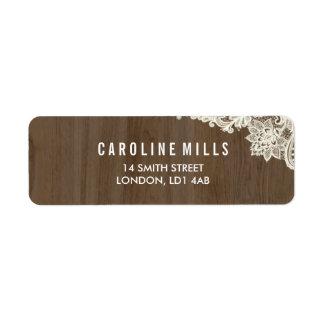 Étiquettes de adresse de retour rustiques en bois
