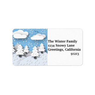 Étiquettes de adresse de scène de neige d'hiver