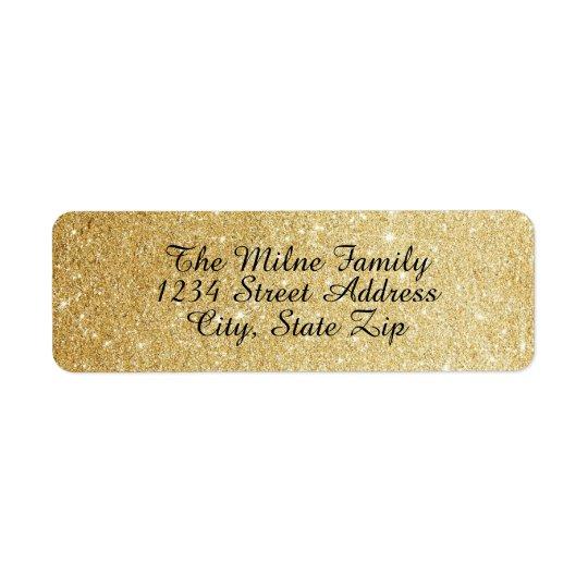 Étiquettes de adresse de scintillement d'or de