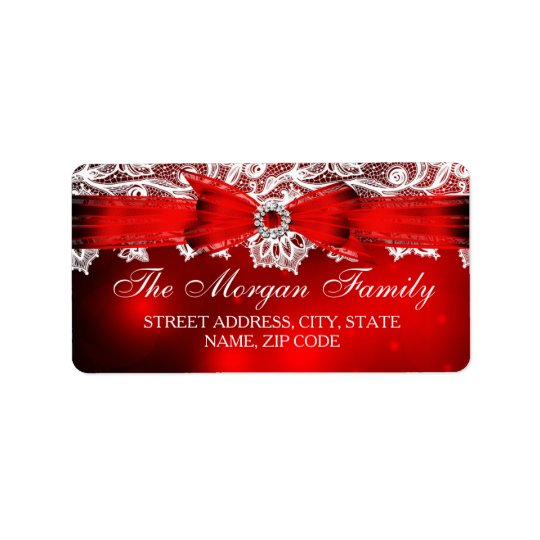 Étiquettes de adresse élégants de Noël de dentelle