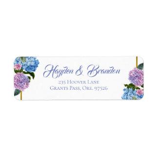 Étiquettes de adresse élégants d'hortensia