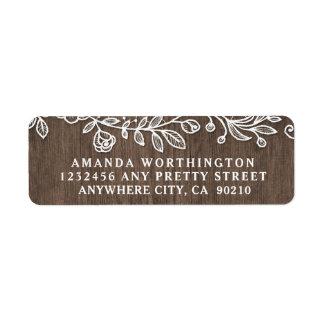 Étiquettes de adresse en bois de mariage de pays