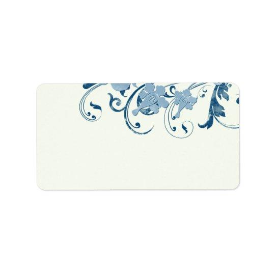 Étiquettes de adresse floraux bleus marins de blan