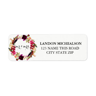 Étiquettes de adresse floraux d'aquarelle de