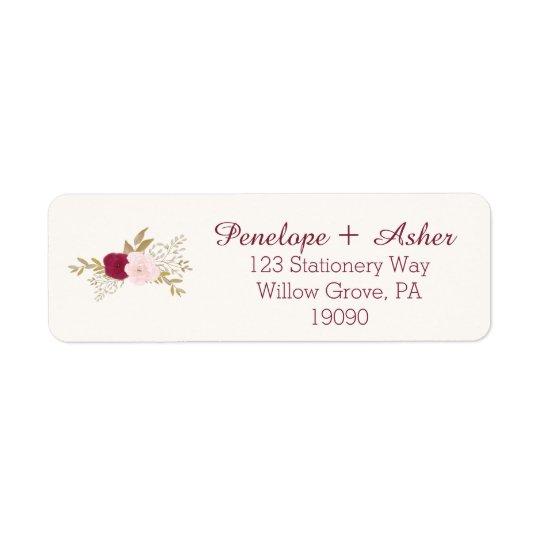 Étiquettes de adresse floraux de Bohème de retour
