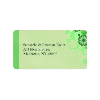 Étiquettes de adresse floraux de ketmie verte en étiquette d'adresse