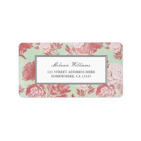 Étiquettes de adresse floraux de pivoines de corai