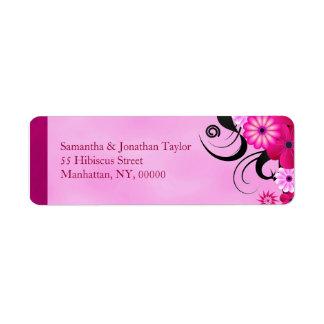 Étiquettes de adresse floraux fuchsia légers de étiquette d'adresse retour