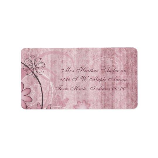 Étiquettes de adresse floraux roses faits sur