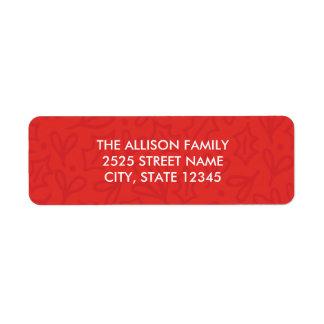 Étiquettes de adresse gais de Noël de houx - rouge