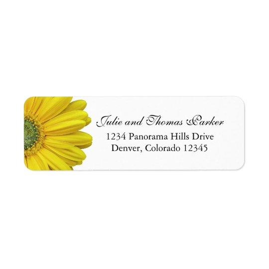 Étiquettes de adresse jaunes de retour de mariage