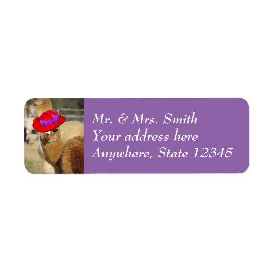 Étiquettes de adresse mignons de retour d'alpaga