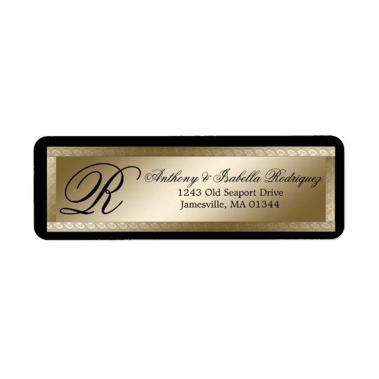 Étiquettes de adresse noirs de retour de mariage
