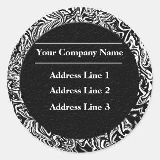 Étiquettes de adresse noirs et blancs d'affaires sticker rond
