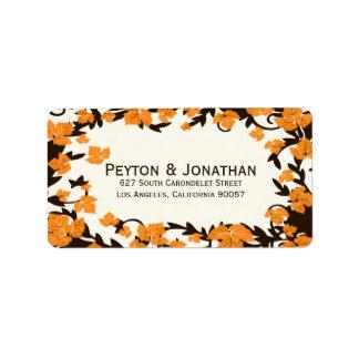 Étiquettes de adresse oranges de feuille d'automne
