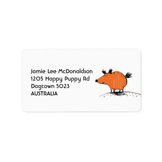 Étiquettes de adresse oranges heureux de chien