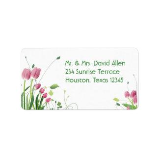 Étiquettes de adresse roses de blanc de tulipes