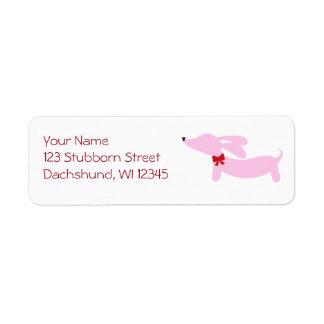 Étiquettes de adresse roses de retour d'arc de
