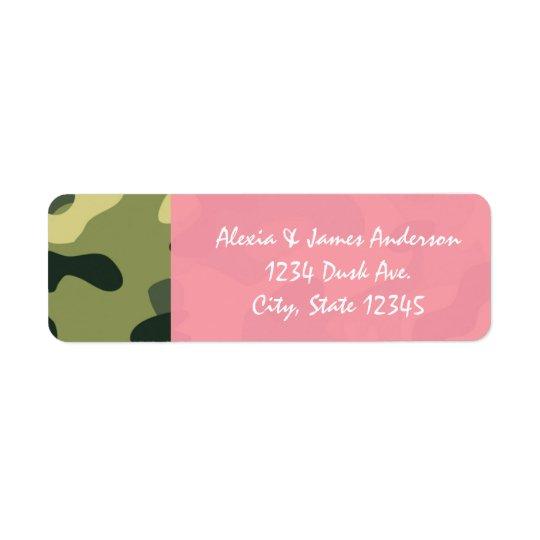 Étiquettes de adresse roses et verts de Camo de
